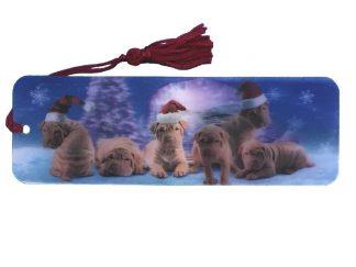 Puppies in Santa Hats bookmark